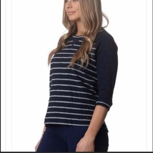 NWT 3/4 sleeve navy striped top from NYDJ xs